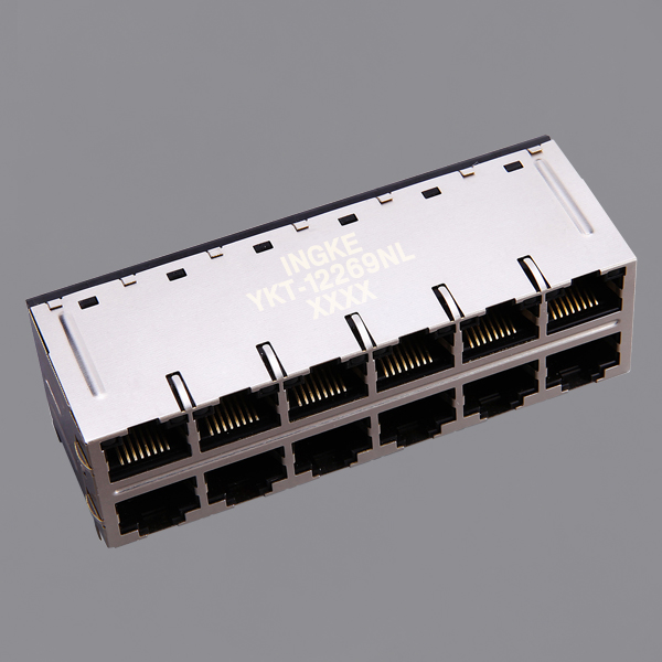 2x6 Ports 10G Base-T POE Plus RJ45 Magjack Connector