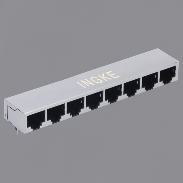 1X8 Ports 10/100Base-T Tab Down RJ45 Ethernet Connector with Magnetic