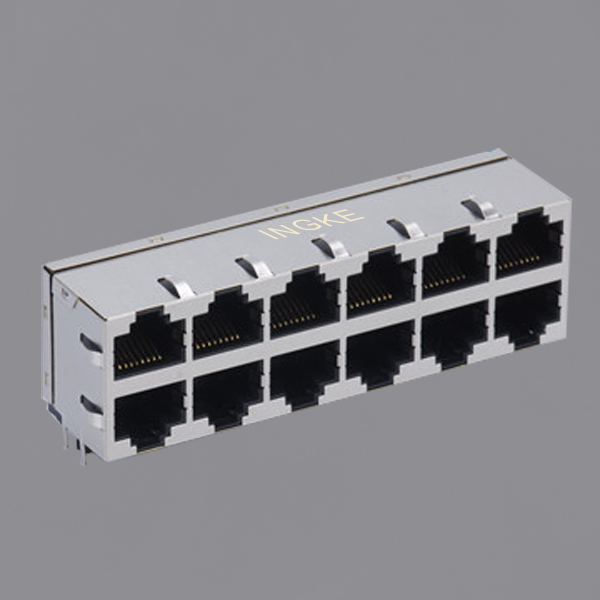 2X6 10/100Base-T RJ45 Ethernet Connector Magnetic Ethernet
