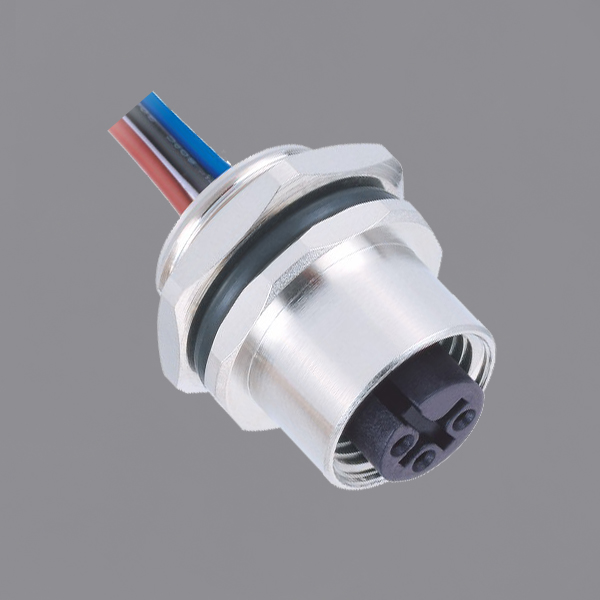 M12 Circular Connector Female Panel Front Mounting Socket with Electronic Wire