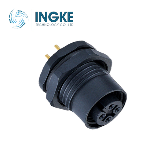 M12 Circular Connector Rear Panel Mount Waterproof Plastic Socket