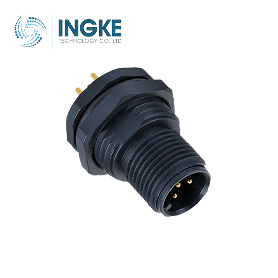 M12 Circular Connector Rear Panel Mount Sensor Plastic Plug