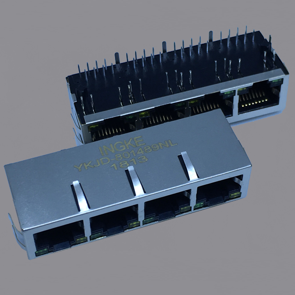 1x4 10/100Base-T Tab Down RJ45 Ethernet Connector