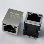 100Base-T Tab Up RJ45 Magjack Connector with G-G LED