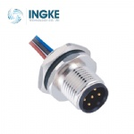 M12 Circular Connector Male Panel Front Mounting Plug with Electronic Wire